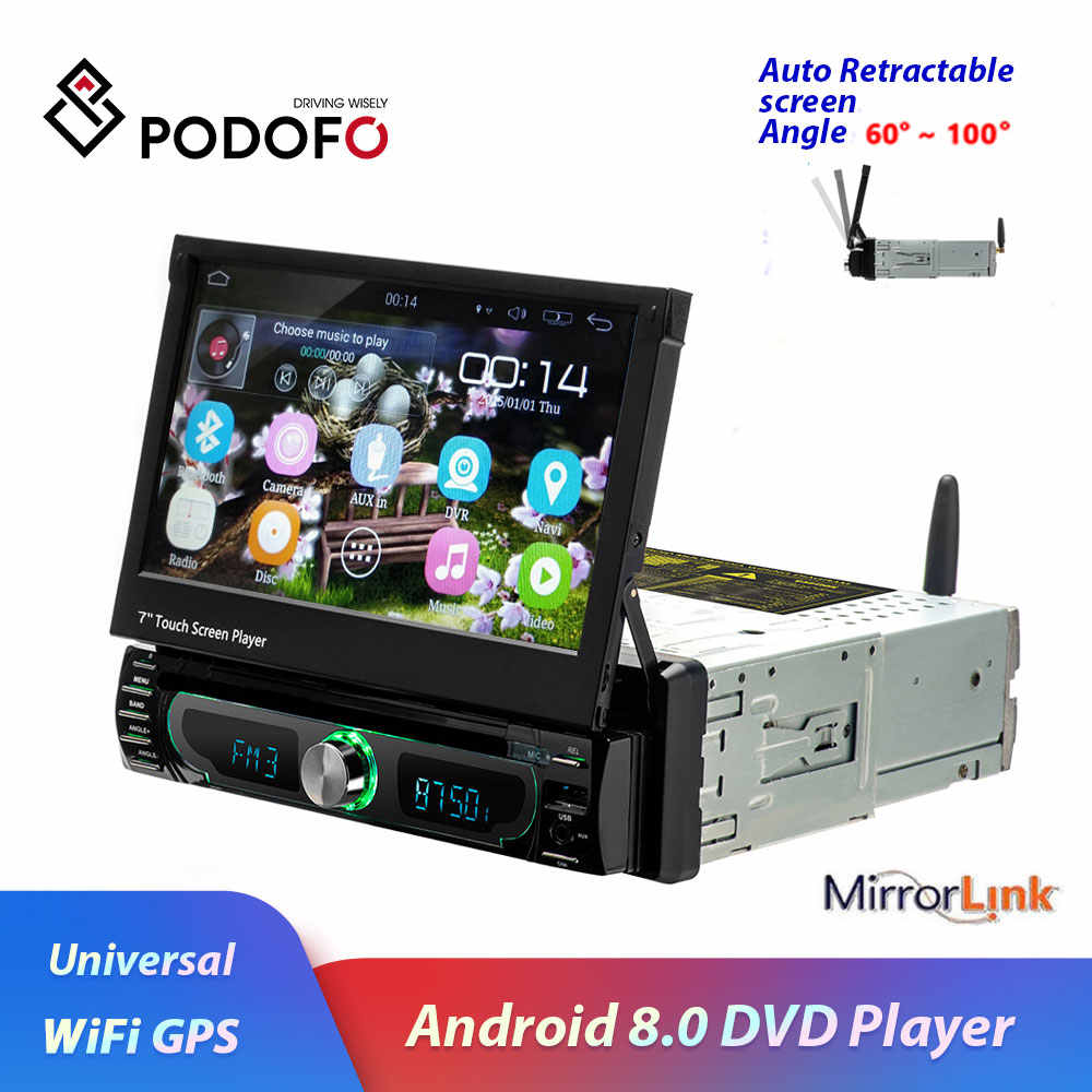 "Podofo 7"" Android Multimedia CD/DVD Player GPS Navigation Car Radio Stereo 1din Universal Autoradio WIFI Bluetooth FM AM USB"