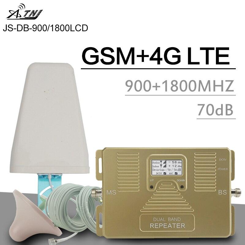 Répéteur de Signal de téléphone mobile ATNJ GSM 900 MHz 4G LTE DCS 1800 MHz amplificateur cellulaire double bande ALC Kit de Booster de Gain LCD intelligent 70dB