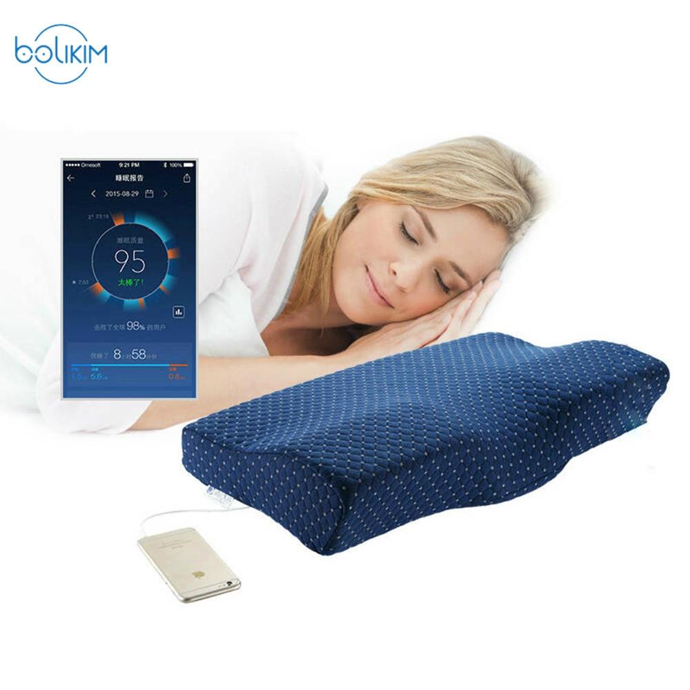 BOLIKIM 2 pièces Version améliorée surveillance du sommeil Intelligent ronflement oreiller forme papillon cou Protection sommeil musique oreiller
