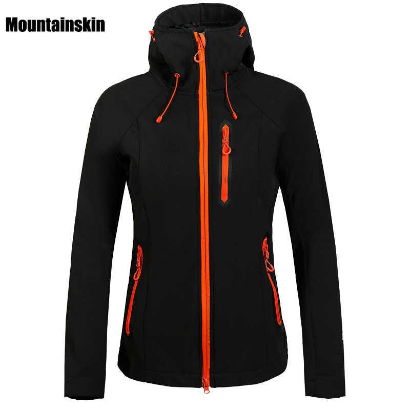 Mountainskin النساء الشتاء الصوف معطف طويل الرقبة في الهواء الطلق معطف مقاوم للماء التنزه تزلج الرحلات التخييم الإناث مصدات الرياح VB027