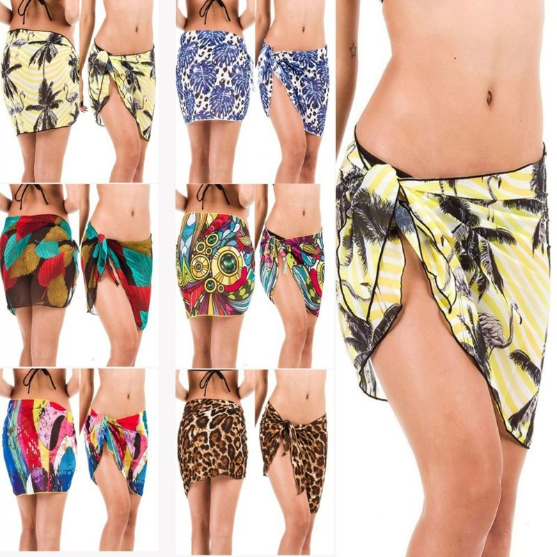 Womens Summer Sun Protection Chiffon Sarong Wrap Skirt Bohemian Colored Leopard Coconut Tree Digital Printing Swimsuit Cover Up