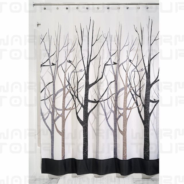 Genial WARM TOUR Gray And Black Forest Shower Curtain Waterproof Polyester Bath Curtain  Hospital U0026 Hotel With