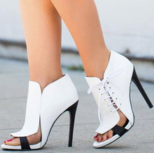 Réel Noir Et Blanc Femmes Pompes Stilettos Talons De Mode Femmes Chaussures À La Main Faite sur commande de Grande Taille Lace Up Side Pompes