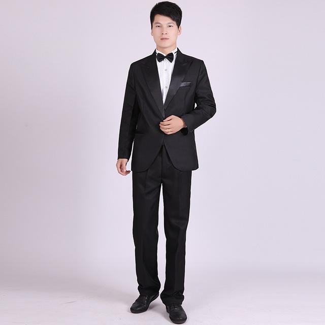 (Jacket + Pants) Fechamento Clássico dos homens de Colarinho Terno Noite Competição Coro Mestre Roupas Fase Traje Desgaste Ternos Smoking barato