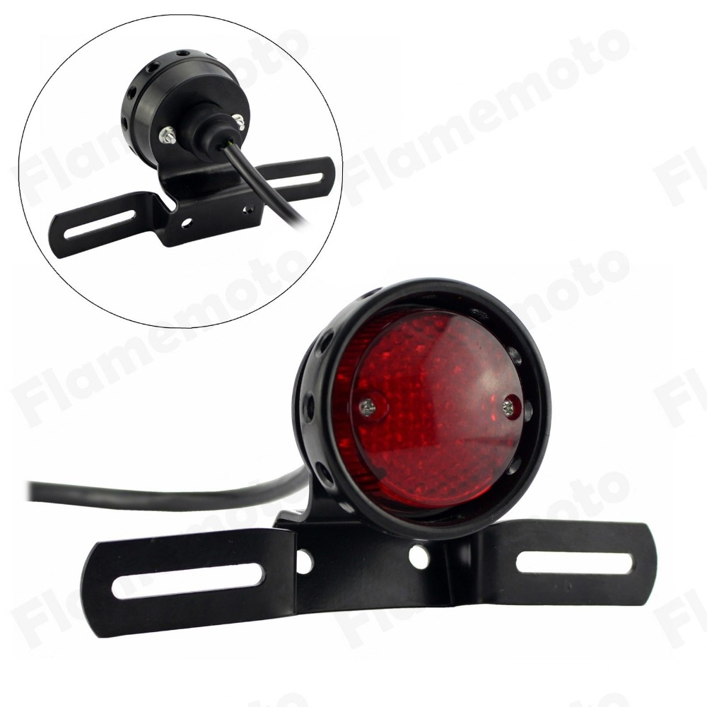 Motorcycle LED Red Rear Tail Brake Stop Light Lamp For harley Cafe Racer Chopper Bobber  clear smoke red lens motorcycle red led brake stop rear fender tip tail light indicator lamp for harley breakout fxsb 2013 2016