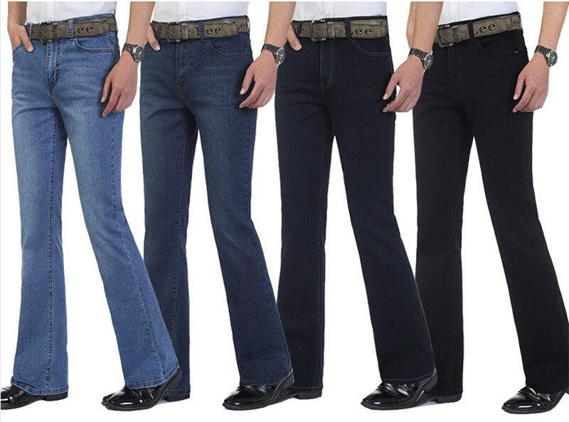 ФОТО High Quality Spring And Autumn Male Bell-Bottom Jeans Men's Elastic Mid High Waist Boot Cut Semi-Flared Flare Trousers Jeans