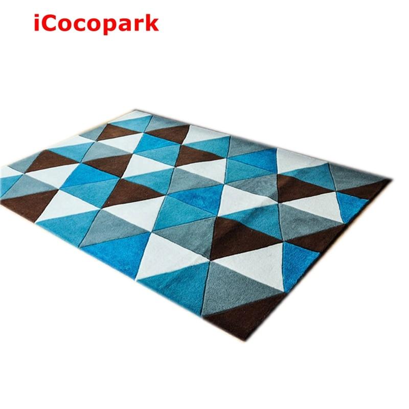 NiceRug Blue Lattice Imitation Wool Carpet Non Slip Mats Living Room Rug Mat Bedroom Bathroom