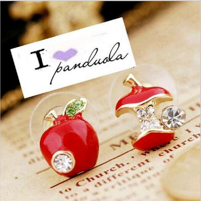 fashion women jewelry lovely Rhinestone Red And Green Color Womens stud Earrings For Women