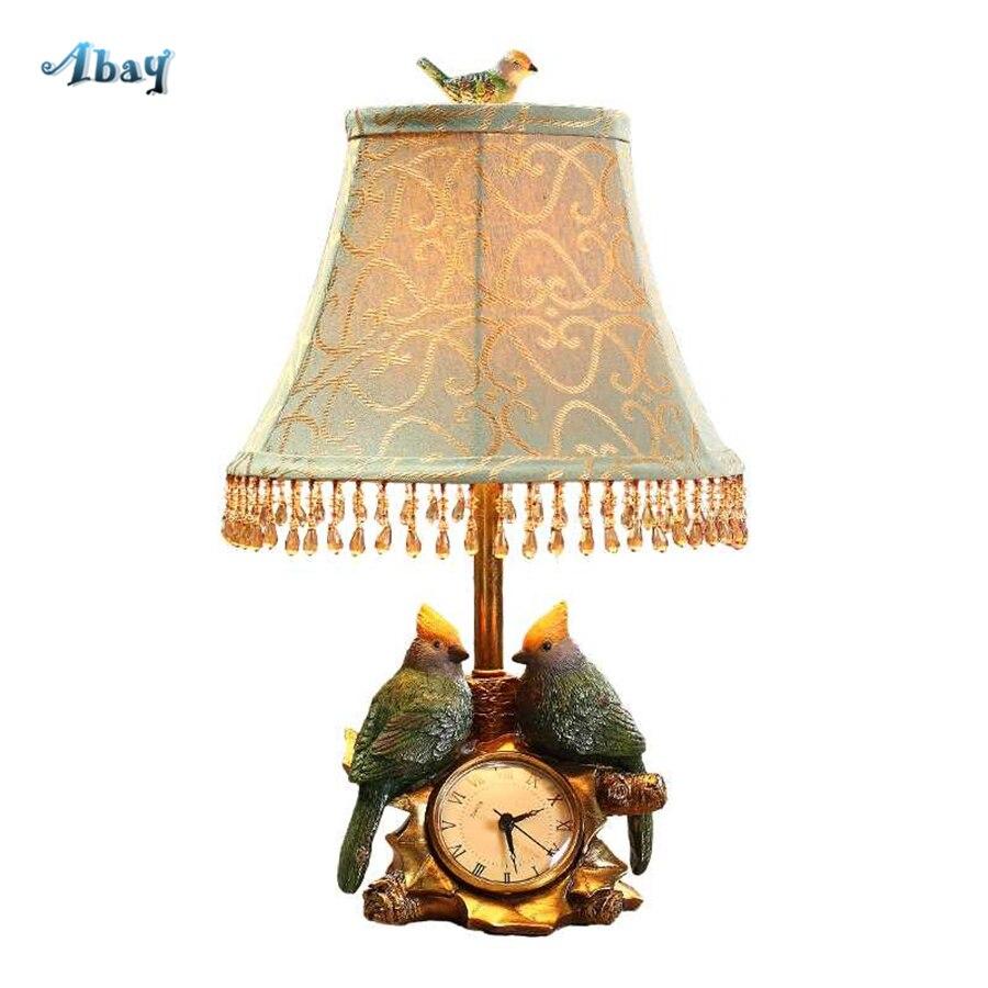 Clock Table Lamp Led E27 Living Room