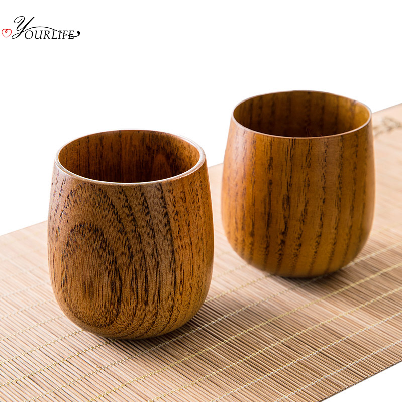 OYOURLIFE Japanese Style Natural Wooden Cup Reusable Environmental Protection Tea Coffee Milk Wine Cup Heat Insulation Water Cup 2