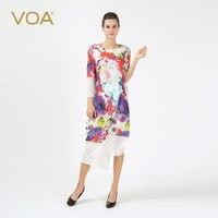 VOA осень Шелковый Повседневное Boho Плюс Размеры платья весна мода печатных свободные Для женщин Пляжное длинное платье Бразилии одежда своб