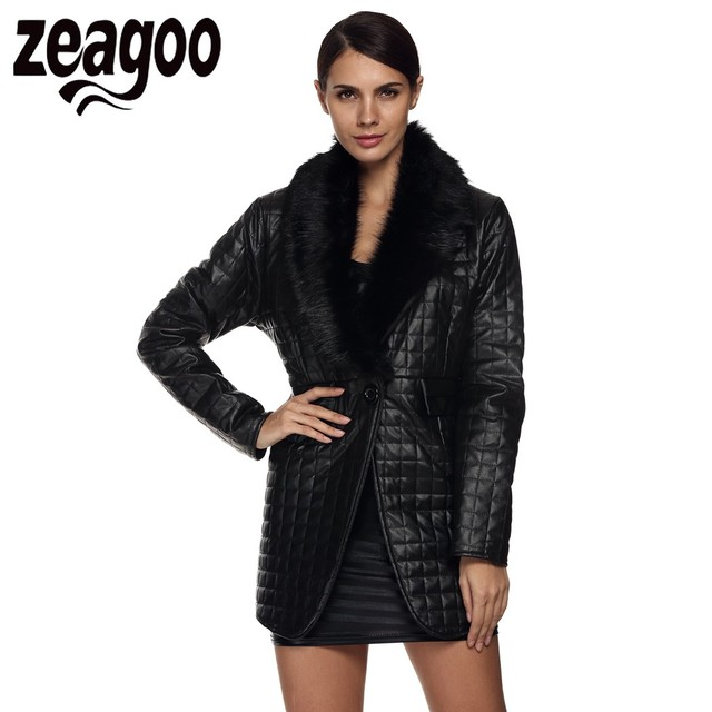 Zeagoo Winter Ladies Coat Long Sleeve Faux Fur Coat Synthetic Leather Collar Mid-long Coat Women Outwear Faux Fur Overcoat