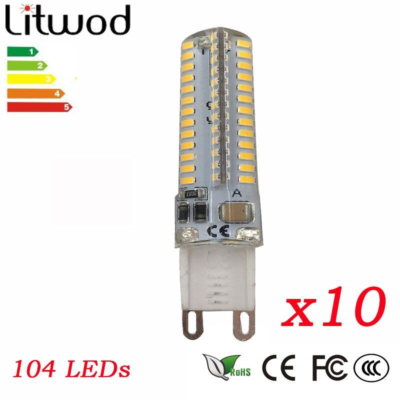 10 шт. 104 светодиоды 3014SMD <font><b>LED</b></font> G9 Светодиодная лампа AC 110 В 220 В 230 В 240 В заменить 100 Вт галогенной лампы 360 Угол луча светодиодные лампы