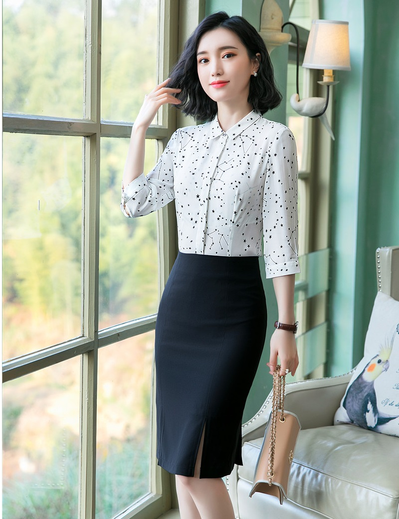 Formal Business Suits With 2 Piece Tops And Skirt For Women Ladies Office Work Wear Blouses & Shirts Sets OL Styles Suits