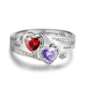 Image 4 - Promise Ring Personalized Engrave Name Custom Heart Birthstone Ring 925 Sterling Silver Rings For Women Gift (JewelOra RI102502)