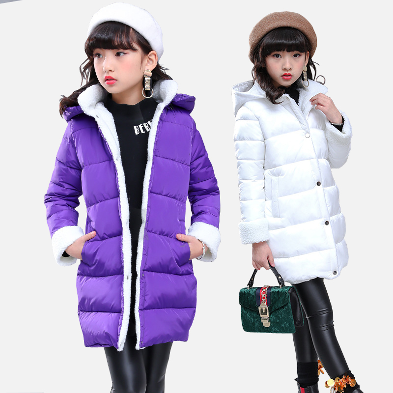 Girls Winter Coats 2018 New Girls Long Padded Jacket Kids Winter Coat Warm Thickening Hooded Cotton Coats for Teenage Outwear юбки doctor e юбка