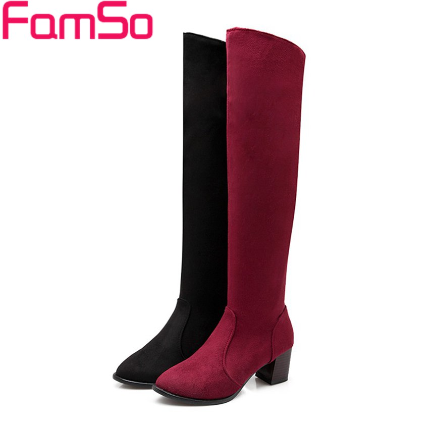 Plus Size34 45 2016 new Sexy font b Women b font thigh high boots Black Spring