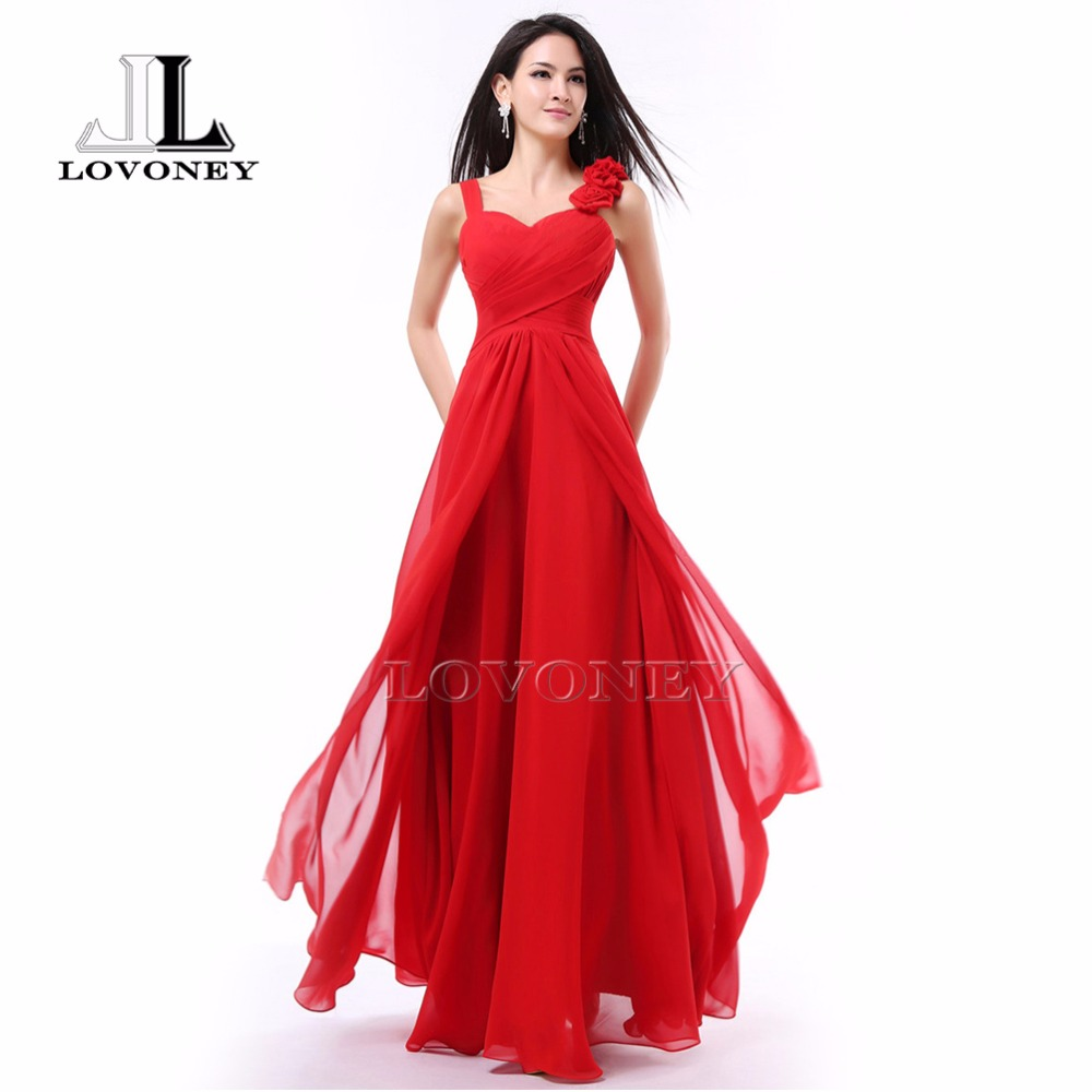 LOVONEY Elegant A-Line Sweetheart Chiffon Long   Evening     Dress   2019 Formal Party   Dresses     Evening   Gown Robe De Soiree S323