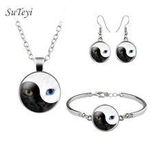 Newest Yin Yang Cat Dragon Eye Glass Jewelry Sets Art Picture Necklace Earrings Silver Plated Adjustable Bracelet Women Gift