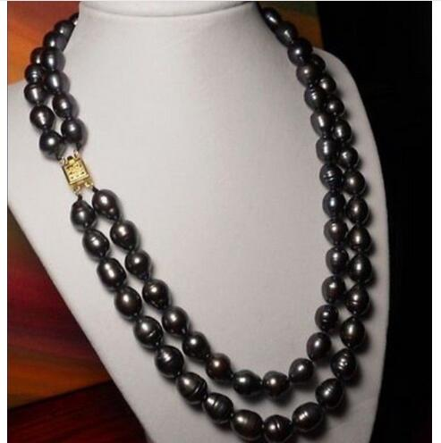 Women Gift Freshwater new 2 row 10 11mm natural black Australian south sea pearl necklace
