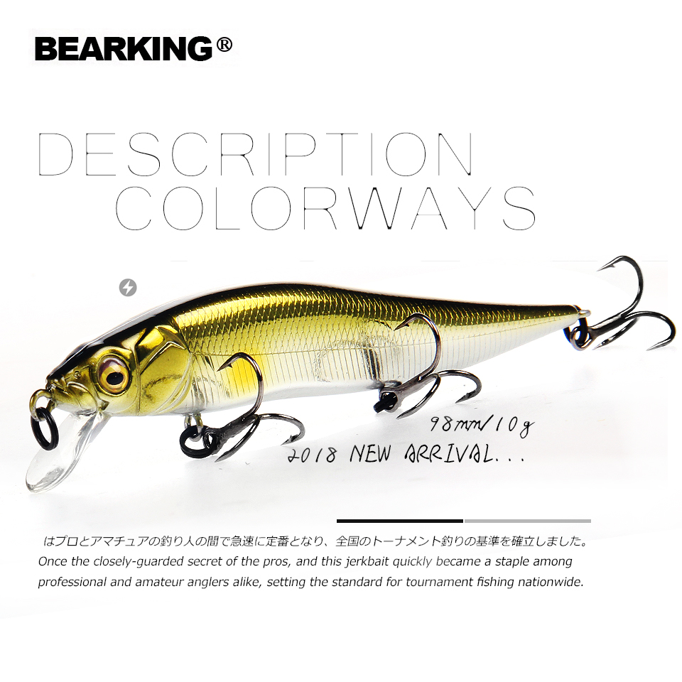Retail A fishing lures assorted colors minnow crank 98mm 10g Tungsten weight system bearking 2018 wobbler