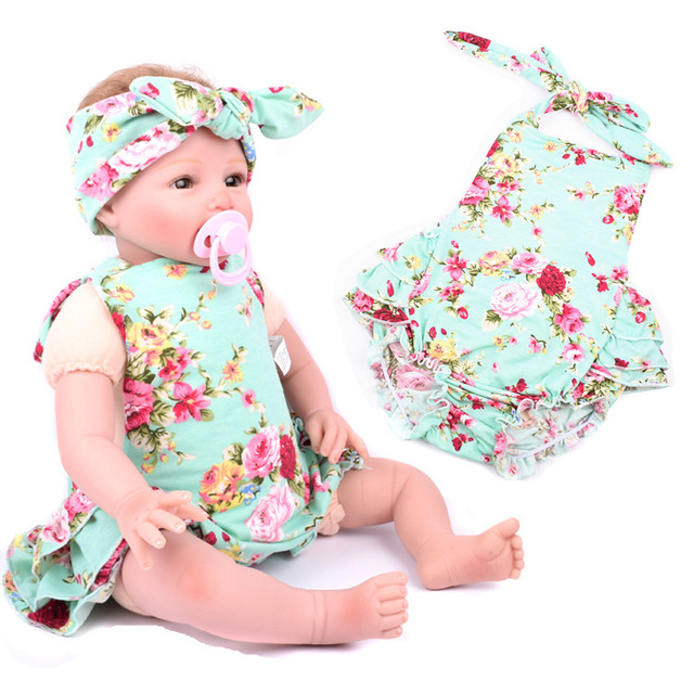 1ef2e6a46d5f 2017 Summer Baby Rompers Girls Cotton Flower Printed Bubble Romper Matching Headband  Kids Jumpsuit Infant Baby Clothing Outfit
