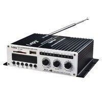 2x20 Wát 2CH Hi-Fi Xe Khuếch Đại Stereo L/R RCA Âm Thanh Kỹ Thuật Số Amp với USB SD DVD CD MP3 FM Power Adapter LP-V9S