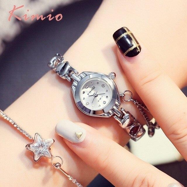KIMIO Simple Small Womens Watch Love Shape Bracelet Watch Women Luxury Quartz Wo