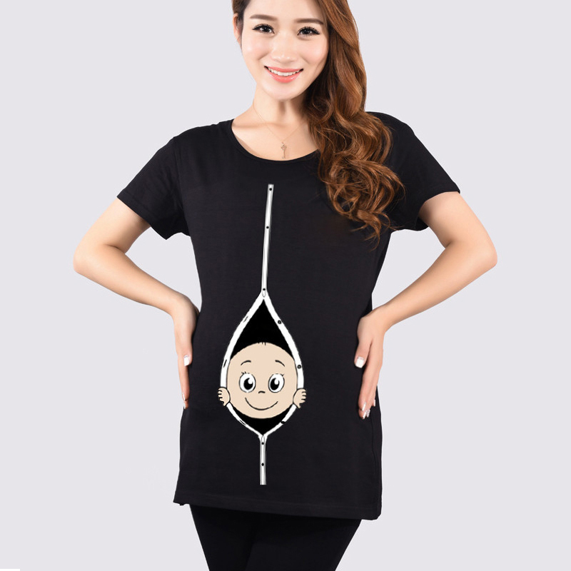 Summer Maternity Funny Baby Peeking Out T Shirts Black Red Pregnant Women Tops Tees Clothes ...