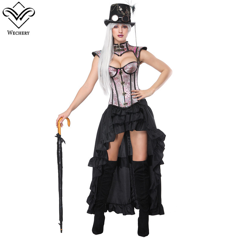 Wechery Sexy Steampunk Corsets & Skirt Set Womens Ruffles Pleated Skirts with Striped Cut Out Bustier Tops Costume for Shows