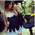 Mulheres vestidos de verão chiffon oco elbise girl dress lace costura a céu aberto sem mangas o-pescoço vestidos mujer frauen kleider
