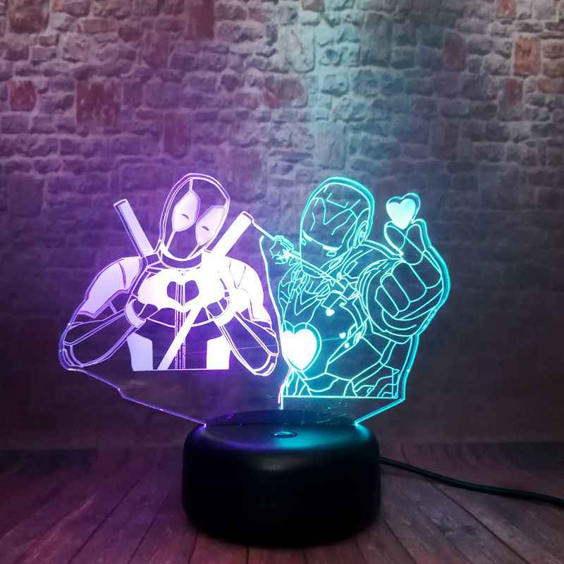 Figuras de Los Vengadores del amor Deadpool modelo 3D luz de noche LED luz de varios colores Marvel superhéroe figura de Iron Man Juguetes