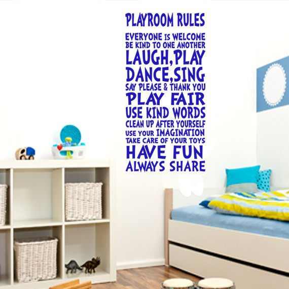 POOMOO Decals Playroom Rules Wall Decor Wall Art Sign For Children Kids  Girl Boy Playroom Wall Quote Wall Sticker Size112x56cm