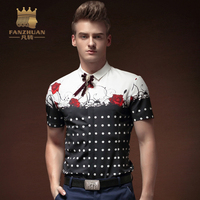 FANZHUAN 2017 Summer Men Shirts Short Sleeves Mens Casual Shirt Slim Wave Point Floral Print Dress