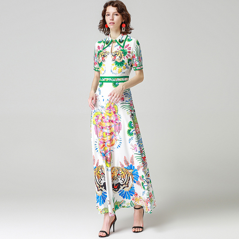 Brand runway vintage vestido mujer verano 2018 women summered floral maxi dress beach long steller tiger snake print embroidery