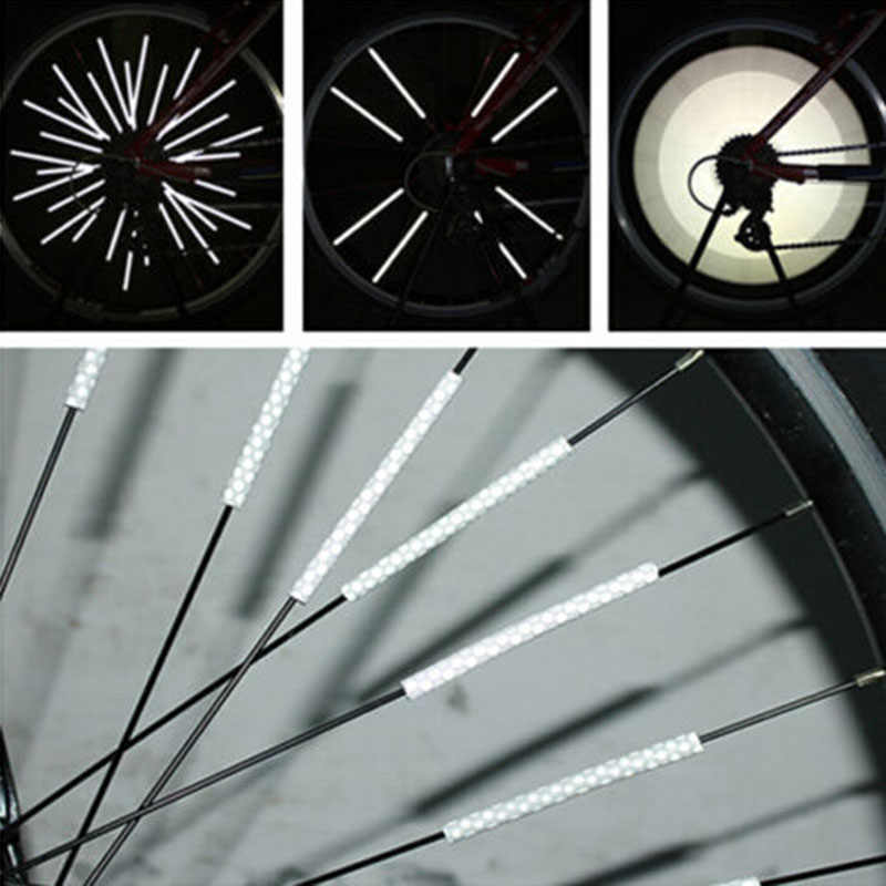 Bicycle Wheel Spoke Reflector Reflective Mount Clip Tube Warning Strip 12pcsNB9