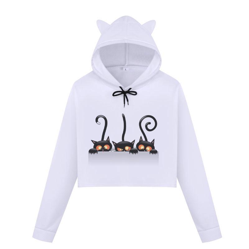 Womens Cat Cute Sweatshirts Harajuku Hoodies Crop Tops Kpop Long Sleeve Kawaii Cropped Sweatshirt Hooded Pullover Vetement Femme