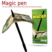 1pcs Thru Bill Penetration Dollar Pen Tricks Magic Through Magie for Show Prop Children Toy