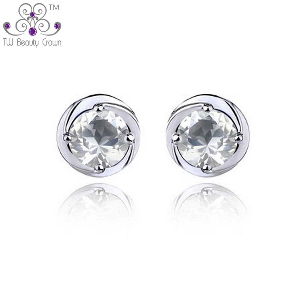 2017 New Fashion Jewelry 925 Pure Silver Simulated Diamond Purple White  Austrian Crystal Stud Earrings For