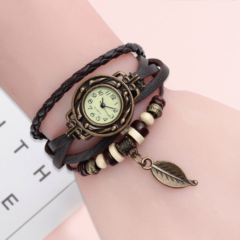 High Quality Women Genuine Leather Vintage Quartz Dress Watch Bracelet Wristwatches Leaf Gift Christmas Free Shipping D25
