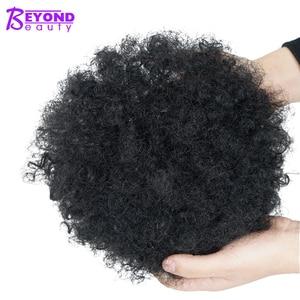 Encaracolado curto encaracolado curly curling bun afro preto africano americano chignon bun cabelo peças com clipe sintético