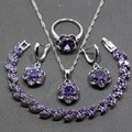 De Calidad superior Plata 925 de Cuatro Piezas Conjunto Joyería de Las Mujeres Ronda Amethyst Púrpura Pendiente Colgante Collar Pulsera Anillo JS85