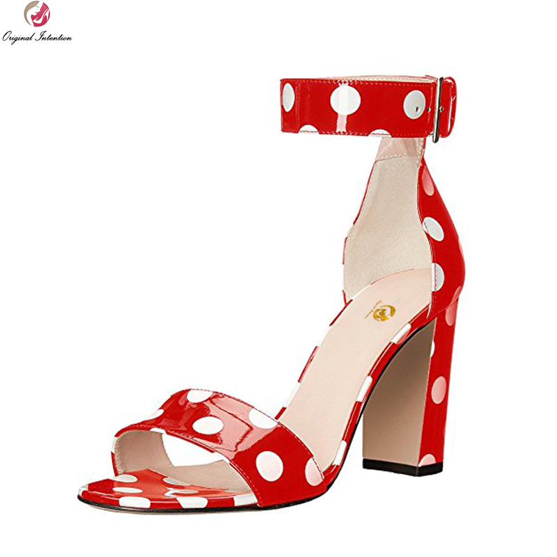 Original Intention New Gorgeous Women Sandals Nice Polka Dot Open Toe Chunky Heels Sandals Popular Shoes Woman Plus US Size 4-15 plus size polka dot cold shoulder top