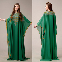 Elegant Green Evening Dresses Luxury Arabic Dubai Kaftan Muslim Long Sleeve Evening Gowns Beaded Rhinestone vestido longo