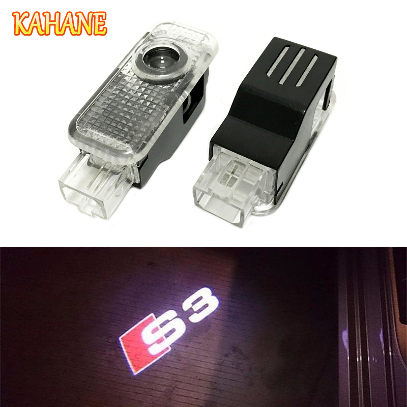 KAHANE 2x S3 Logo Led Car Door Laser Projector light FOR Audi A3 A4 A5 A6 A8 B5 B6 B7 B8 C5 C6 S3 S4 S5 S6 S7 S8 RS3 RS4 RS5 RS6 yawlooc 3d metal black s3 s4 s5 s6 s8 sline car tail sticker emblem badge logo car styling for audi q3 q5 q7 b5 b6 b8 c5 c6