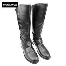 Демисезонный черные мужские военные модные длинные сапоги для верховой езды для человека ковбой панк Туфли в готическом стиле из искусственной кожи до середины икры ботинки с высоким голенищем
