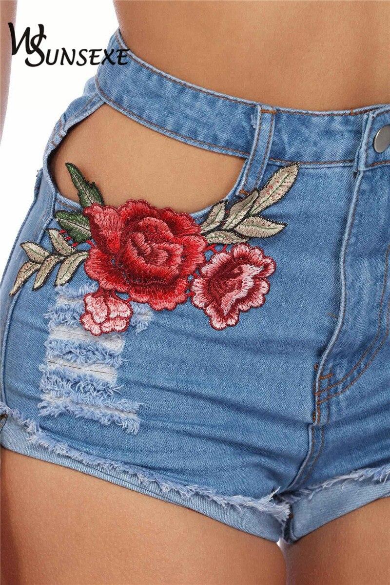 HTB1ao5bRpXXXXbWXXXXq6xXFXXXP - High Waist Shorts Denim Jeans Embroidery PTC 265