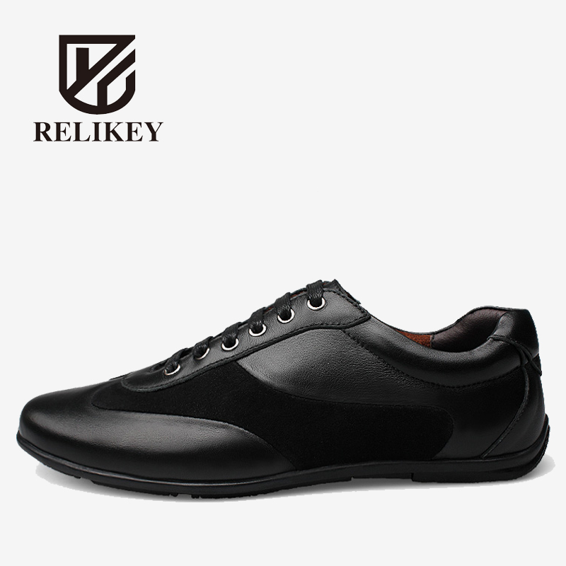RELIKEY Brand Casual Shoes High Quality Full Grain Leather Soft Rubber lace-up Black Fashion Shoes for Men 2016 triangle rivets decoration full grain leather casual shoes eu luminescent substrate high shoes lace up couple models white