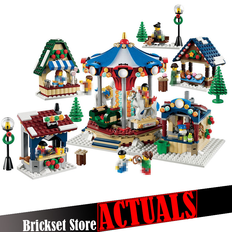LEPIN 36010 Winter Village Market Street View Creator Building Blocks Bricks Toys DIY For Kid 1412PCS Compatible legoINGly 10235 lepin 36010 creative series 1412pcs the winter village market set 10235 building blocks bricks educational toys christmas gifts