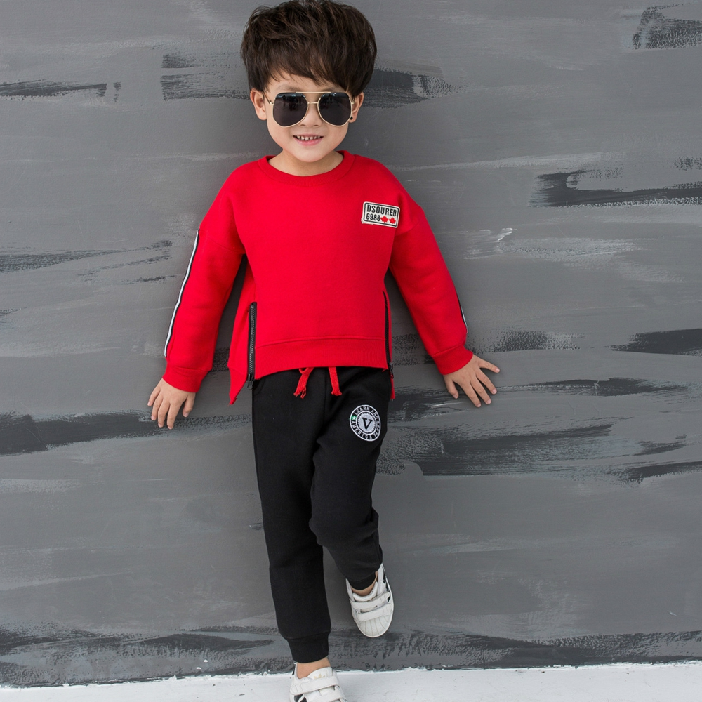 Boys long-sleeved letter sets fall long-sleeved sweater + sweat pants baby long-sleeved double row zipper two-piece 90055